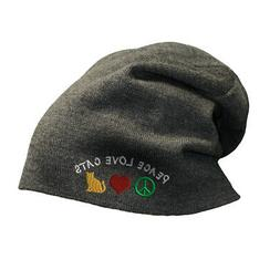 Slouchy Beanie for Men Peace Love Cats Embroidery Winter Hat