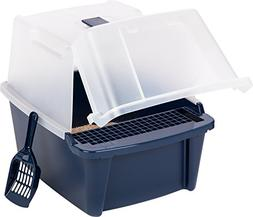 IRIS Large Split-Hood Litter Box with Scoop and Grate, Blue