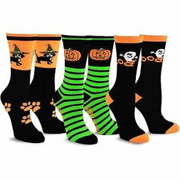 TeeHee Novelty Happy Halloween Fun Crew Socks for Women 3-Pa