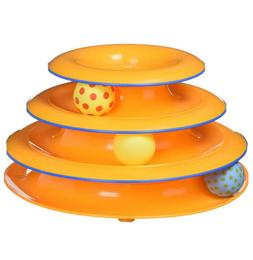 Tower of Tracks Cat Toy Orange - 3 levels of fun playing bal