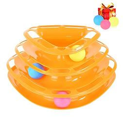 HonFei Tower of Tracks Cat Toy, Three Layers Amusement Plate