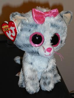 "Ty Beanie Boos ~ KIKI the 6"" Grey Striped Tabby Cat ~ NEW"