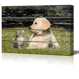 wall26 Canvas Wall Art - Lovely Dog and Cat on Vintage Wood