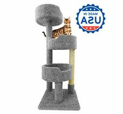 Wooden Cat Tree Tower for Large Cats, Beige, Brown, Gray, Bl